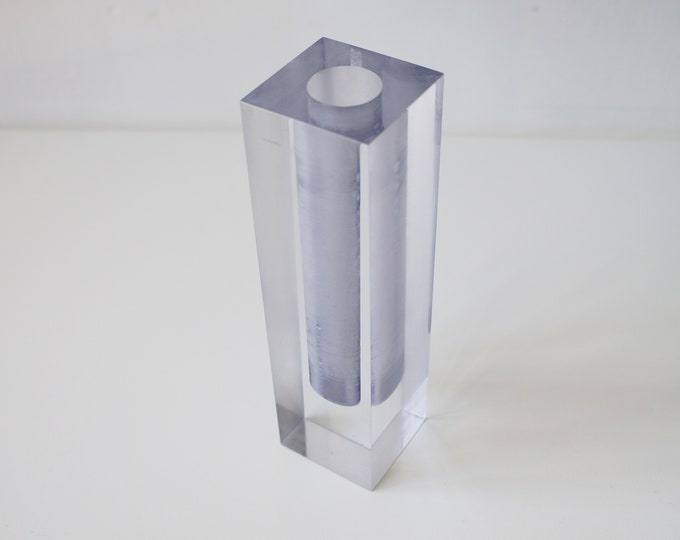 1970s solid lucite clear / grey bud or single stem vase
