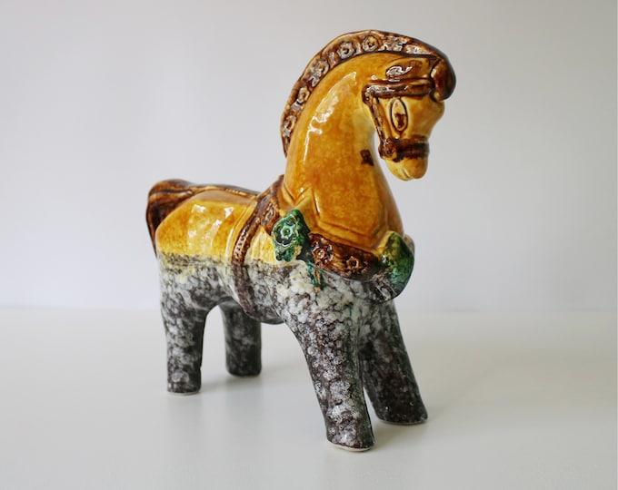 Rare mid century Italian pottery horse - Bitossi Aldo Londi or Nuovo Rinascimento
