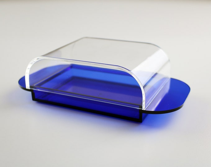 1990s Italian butter dish in clear and clear blue lucite by Guzzini - Ninfea range - A Pozzi
