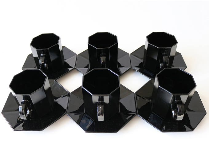 Set of 6 Arcoroc Octime octagonal black glass small tea cups & saucers  - unused