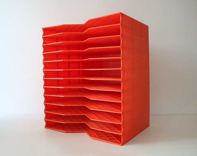 Rare Dutch orange plastic filing tray by Novak - stacking paper file - desk tidy