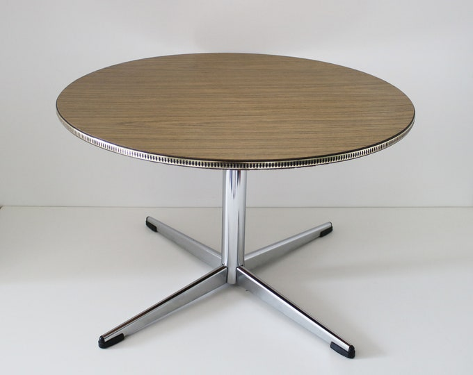 Mid century 60s 70s teak laminate and chrome circular table