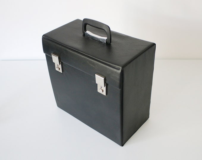 Black textured faux leather record case - vinyl albums 12 inch storage - larger solid version
