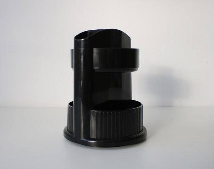 Early 90s plastic rotating desk tidy pen pot by Oxford Design and Mechanics Inc. possibly prototype