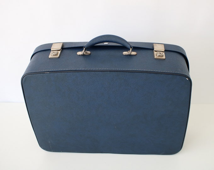 Noton vintage suitcase in blue faux leather / fabric lined - travel, storage, wedding, display