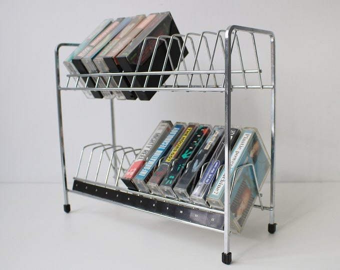 Cassette rack finished in chrome - 2 teir