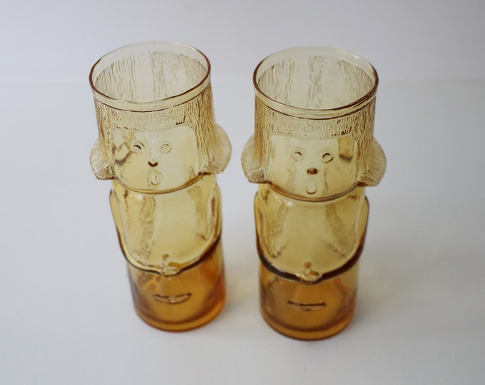 Pair of mid century amber pressed glass singing angel glasses / candle holders Italian  Italy 60s 70s