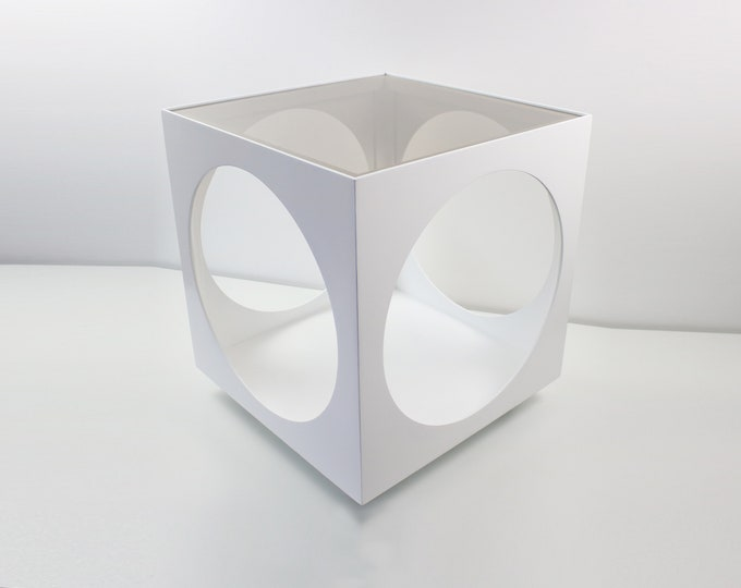 1970s modernist space age painted ply cube table with smoked glass top and castors - Lane style