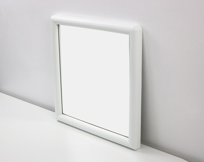 1980s white plastic space age modernist wall mirror plastic - square