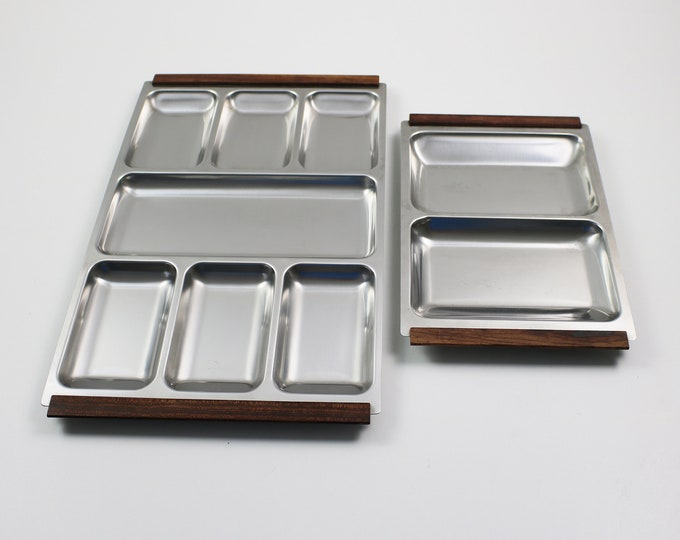 Pair of Danish serving trays in stainless steel with teak / rosewood handles 1960s - large