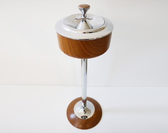 1960s Ianthe chrome and teak effect floor standing ashtray