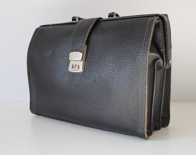 Vintage black leather briefcase / document case - laptop bag / doctor's bag