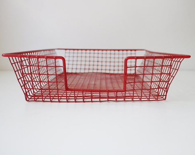 Vintage red wire square grid metal filing tray - A4 paper tray / desk / office
