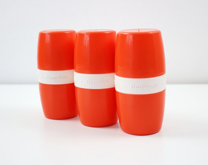 1970s Ovaltine Duo Flask (Cool-Ova) in bright orange and white plastic - 2 cups and bottle