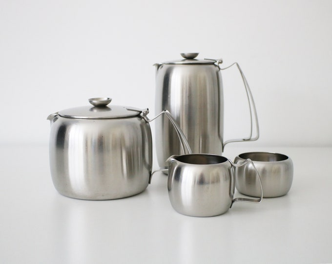Old Hall stainless steel tea set - pot, water jug, milk (creamer) jug and sugar bowl / basin