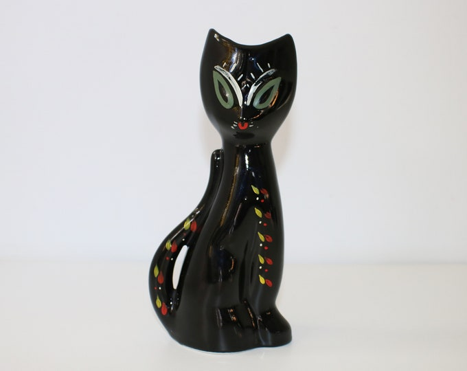 Kitsch ceramic cat vase - mid century