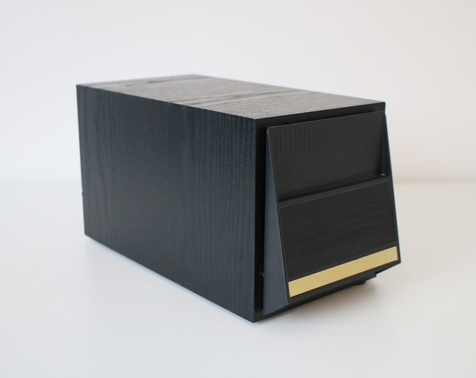 1980s 90s black ash cd storage drawer unit with gilt trim