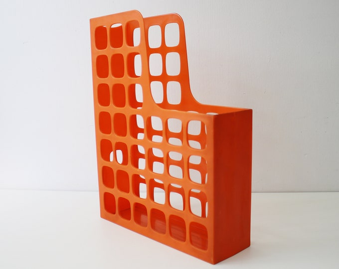 90s Swedish orange plastic desk file storage boxes by Esselte - 2 available
