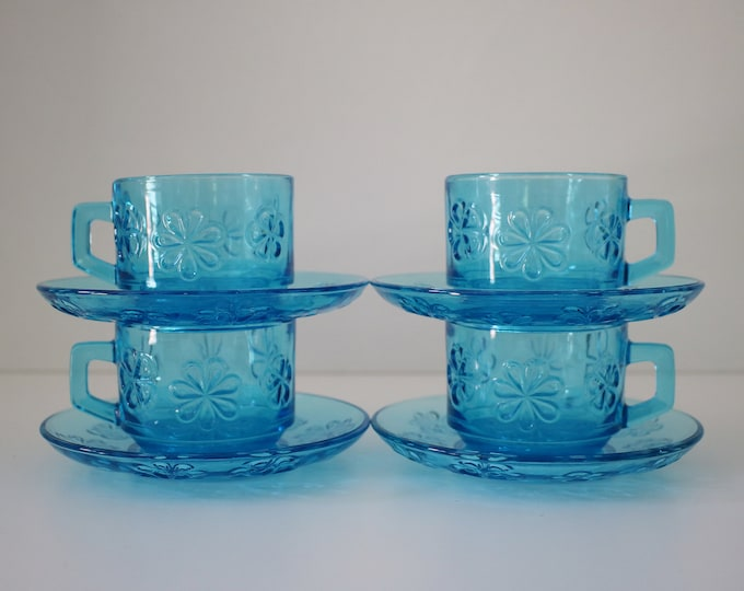 Set of 4 (2 sets available) 1960s French pressed glass cups and saucers with daisy flower design by Vereco - coffee set