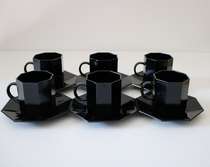 1980s set of 6 Octime black glass coffee cups and saucers / espresso cups by Arcopal France