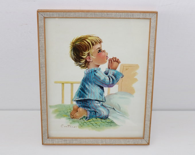 Vintage cute framed print by Constanza - 60s 70s Wooden and hessian frame boy saying prayers