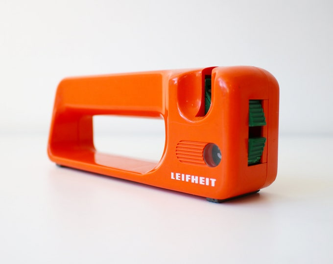 1970s orange plastic Leifheit Selecta knife scissor sharpener