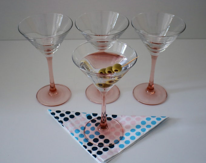 French 1980s set of 4 pink stemmed cocktail martini glasses / sundae dishes by Luminarc - 2 sets available