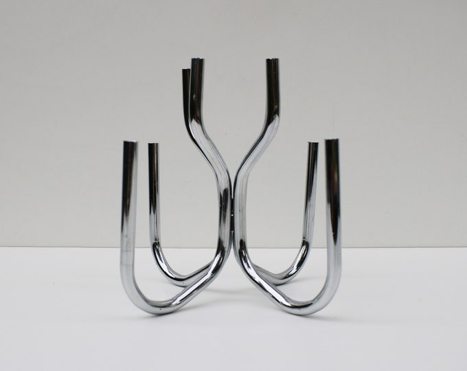 Space age Design Centre ACR polished steel / chrome 8 arm interlocking candelabra candlestick slim taper candle holder