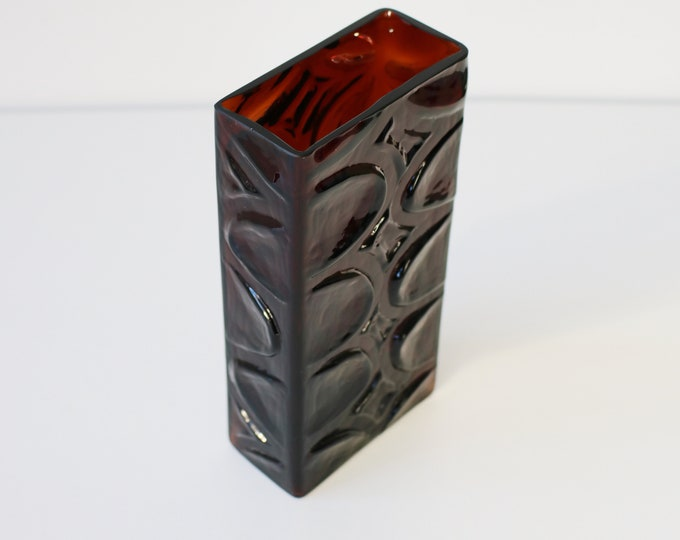 1970s heavy moulded glass vase rectangular with pressed pattern - dark red / brown glass