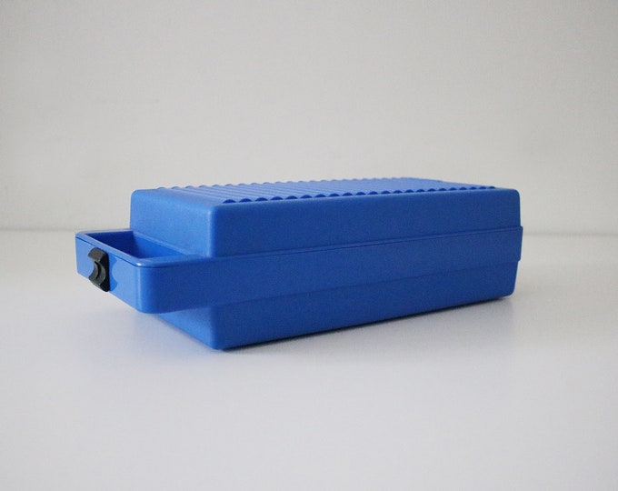 1980s portable blue plastic cassette jewellery makeup storage box by Tontarelli - memphis colours blue and black