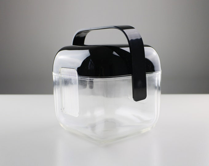 Rare 1980s acrylic / lucite ice bucket by Guzzini - black lid and handle