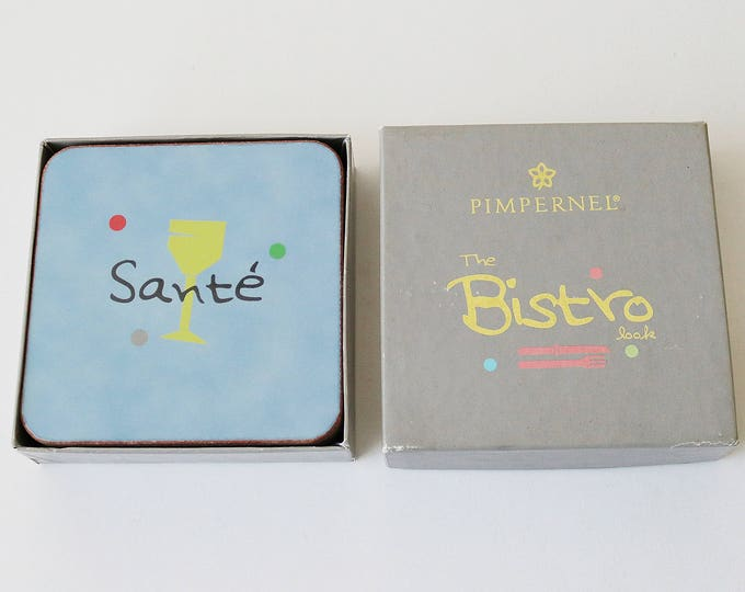 1980s Bistro drinks coasters by Pimpernel. Set of 6 in original box