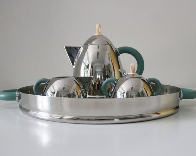 Alessi designer Michael Graves rare signed stainless steel coffee or tea set kettle milk sugar