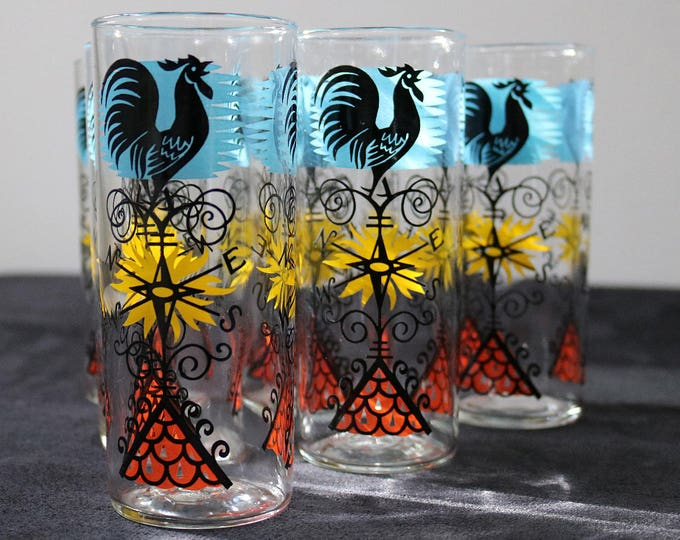 2 sets available 1964 set of 4 rooster cockerel weather vane print slim jim highball glasses 60s Ravenhead Alexander Hardie Williamson