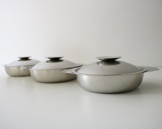 3 Danish modernist stainless steel serving dishes lidded bowls - mid century 60s 70s space age