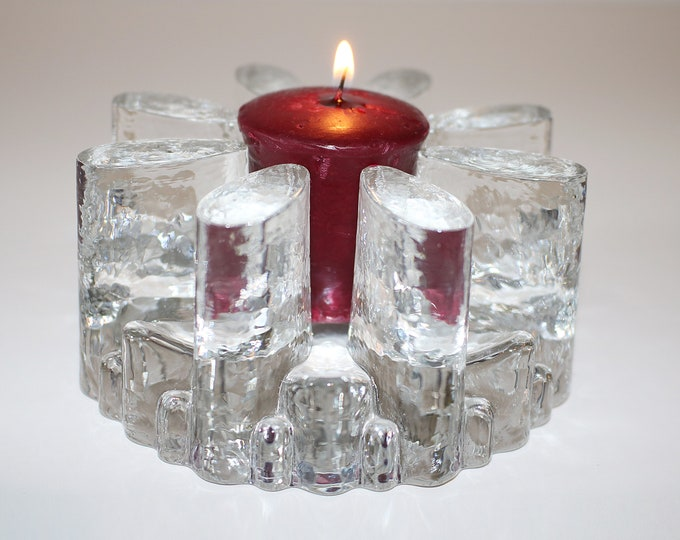 1970s 1980s Georgshutte lead crystal pot warmer candle or tealight holder votive