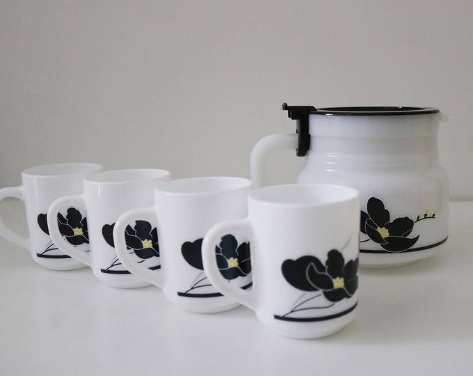 Rare 1980s Arcopal Arc Anais coffee or tea set - lidded pot and 4 mugs - made in France