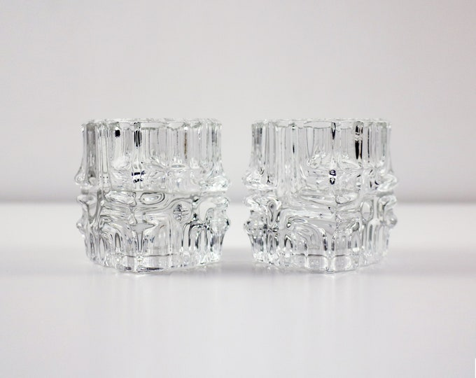 Pair of Sklo Union glass candle holders /  votives by Vladislav Urban for Rosice 1960s