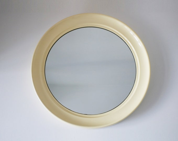 1960s space age mirror in cream plastic - made by Aztec Designs - round wall mirror