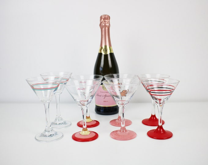 Pairs of 1980s cocktail glasses