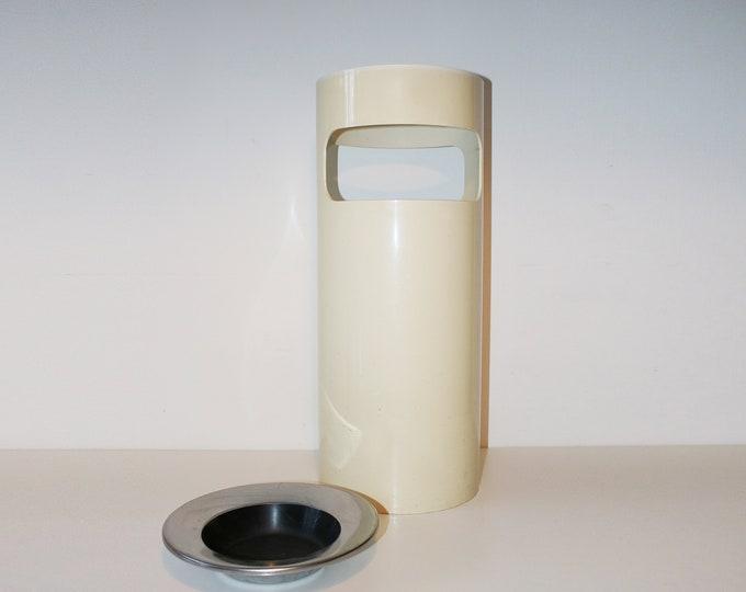 Kartell umbrella stand / waste bin with original ashtray - white plastic, chrome and black enamel