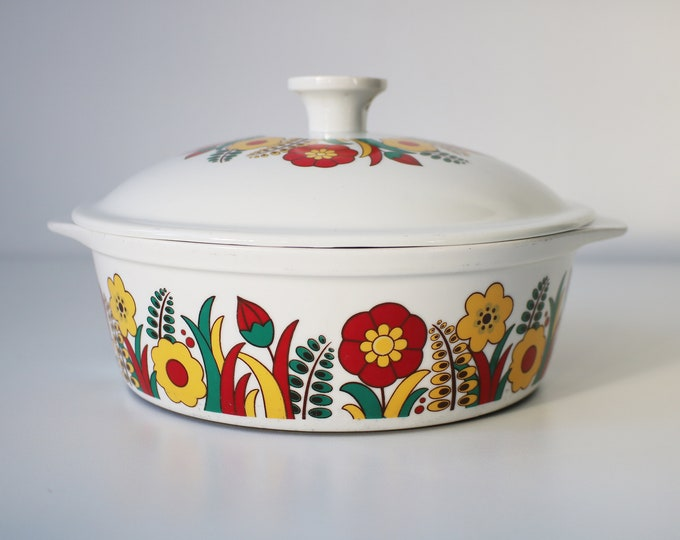 60s 70s German flower power Cordoflam casserole serving dish by Freiberg
