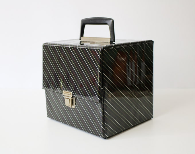1980s record case for 7 inch singles - black, red, silver, gold diagonal stripes  - shiny vinyl - up to 50 singles