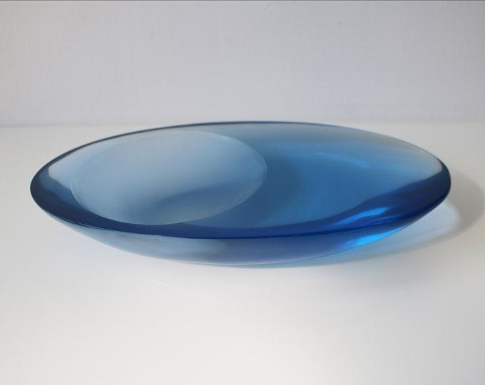 Post-modernist asymmetric blue lucite /  very heavy resin acrylic sculptural art dish / key bowl