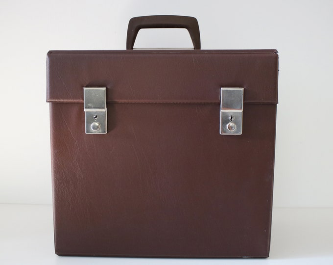 Brown faux leather vinyl record storage case - albums, LPs, 12 inch singles
