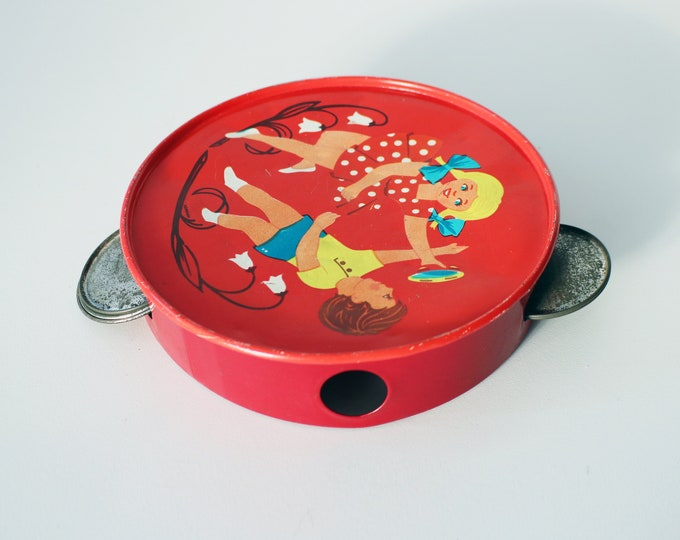 Vintage tin tambourine - childhood collectable - 1950s / 19 60s