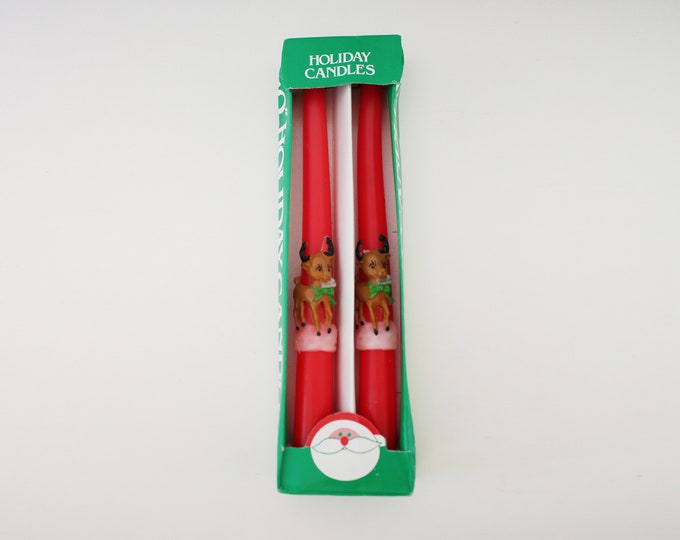 70s 80s retro Christmas reindeer candles - in original box