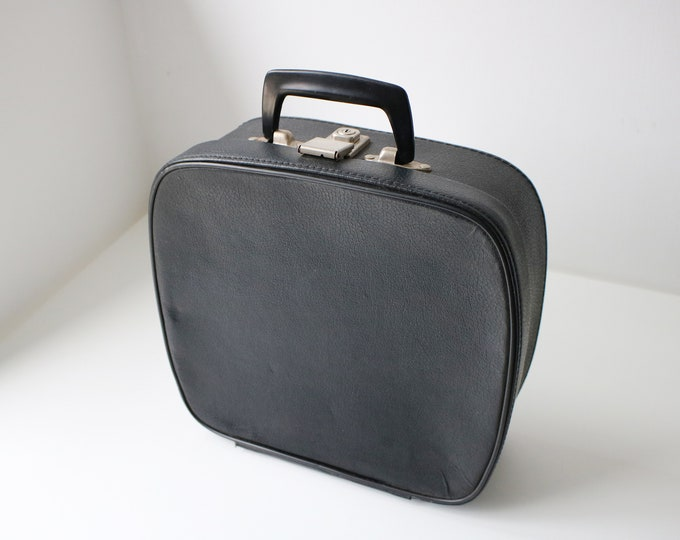 1960s black faux leather vanity case / holdall /cabin bag - satin lined