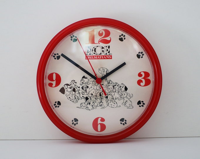Vintage Disney 101 Dalmatians battery operated quartz wall clock - red plastic