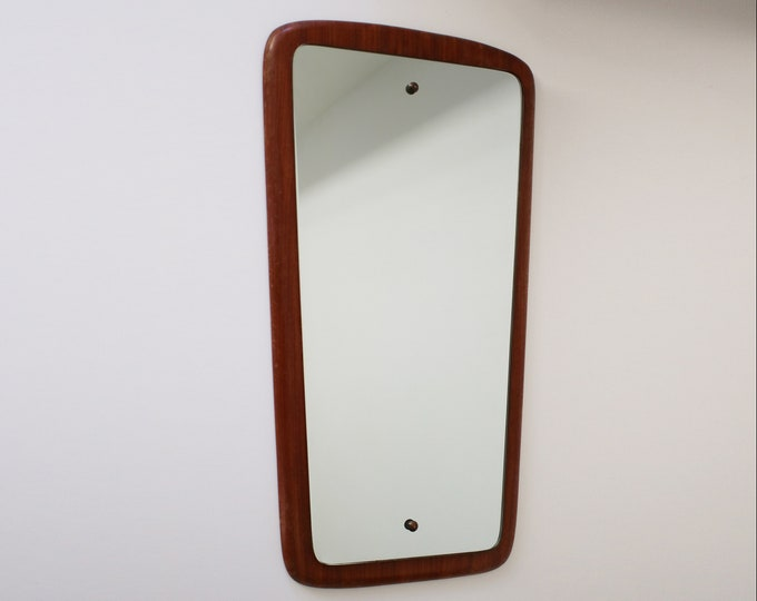 Mid century gently angled teak backed mirror - Danish styling with subtle curves and graduation in shape - 1960s